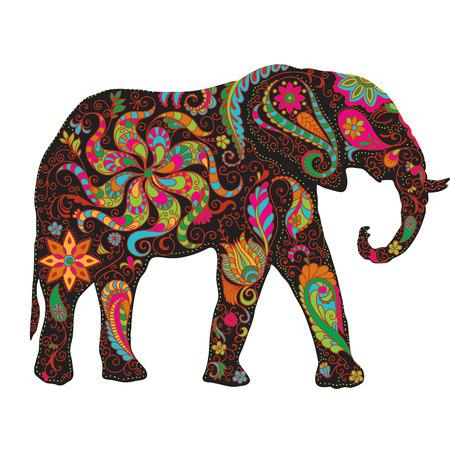 Het silhouet van de verzamelde gegevens uit de hand getekende elementen van een bloem ornament olifant. Vector Illustratie