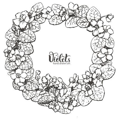 violeta: Marco redondo hecho con flores de color violeta, ilustración