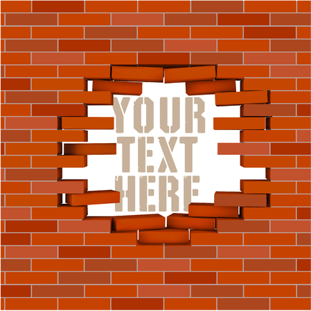red brick wall: Broken red  brick wall with hole inside and  flying bricks. Vector editable illustration. Illustration