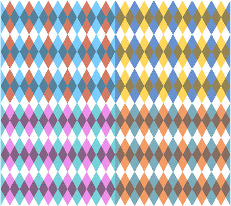 Set of four seamless backgrounds with rhombus Illustration