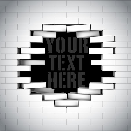 white wall: Broken white brick wall with free space inside for your message. Vector editable illustration.