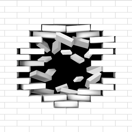 Broken white brick wall with hole inside and  flying bricks. Vector editable illustration.