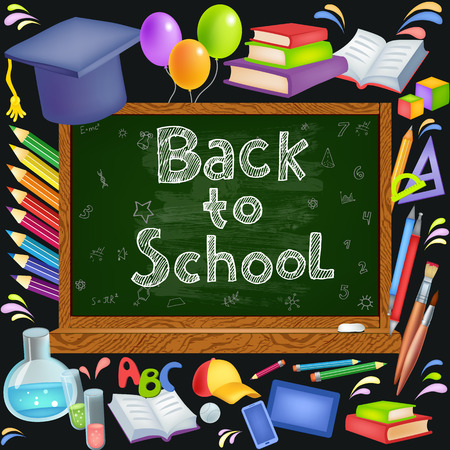 school illustration: Back to School background with blackboard. Vector illustration includes many colored icons School theme Illustration