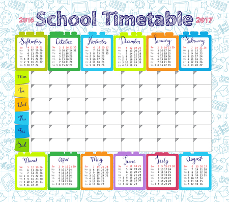 pupil's: Template school timetableand calendar 2016-2017  for students or pupils with days of week and free spaces  for notes.