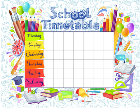 Template school timetable for students or pupils with   days of week and free spaces  for notes. Illustration includes many hand drawn elements of school supplies.  イラスト・ベクター素材