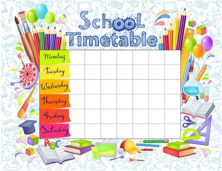 Orario scolastico modello per studenti o alunni con giorni della settimana e spazi gratuiti per le note. L'illustrazione include molti elementi disegnati a mano di materiale scolastico. Vettoriali