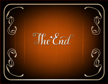 movie poster: Final frame The End , cinema background in vintage style and  brown coloring