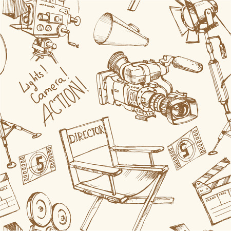objects equipment: Seamless background with movie make equipment objects, hand drawn illustration for your unique design