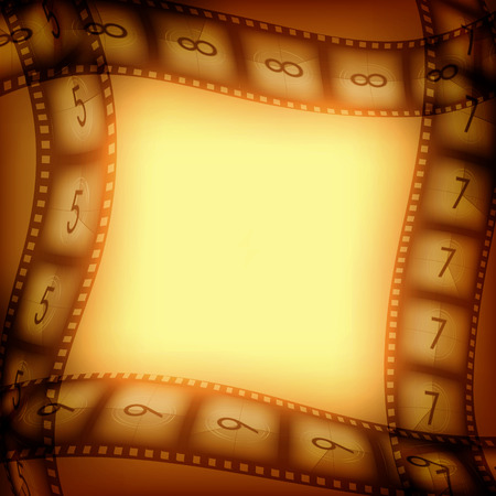 35 mm: Old silent movie films vintage background with free space inside, illustration for you designs on movies theme