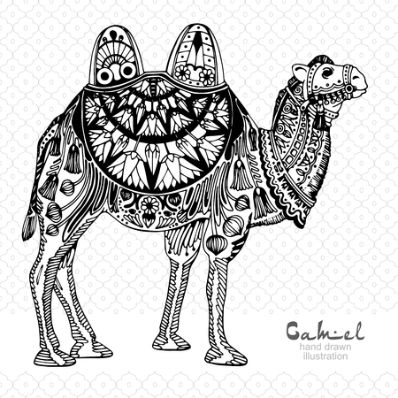 bedouin: Silhouette of camel, decorated with arabic pattern, black and white illustration Illustration
