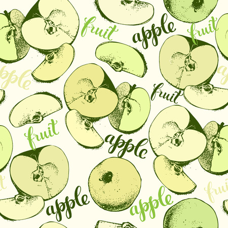 decorative wallpaper: Seamless wallpaper background with apples and decorative lettering