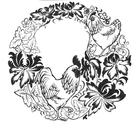 russian pattern: Decorative wreath with cockerel, chicken, chicken youngling, and ukrainian folk flowers. Stock Photo