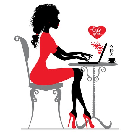 laptop outside: Beautiful girl writes or receive love letter by Internet, silhouette Illustration