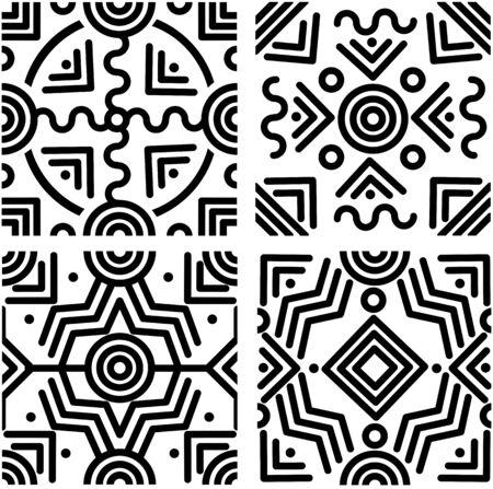 Set van naadloze zwart-wit ttribal geometrische achtergronden met ronde lijnen