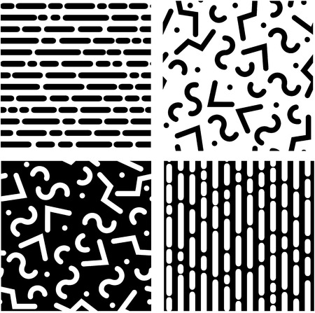 random: Set of seamless black and white backgrounds with rounded lines Illustration