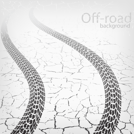 Winding trace of the tires on cracked road, vector background
