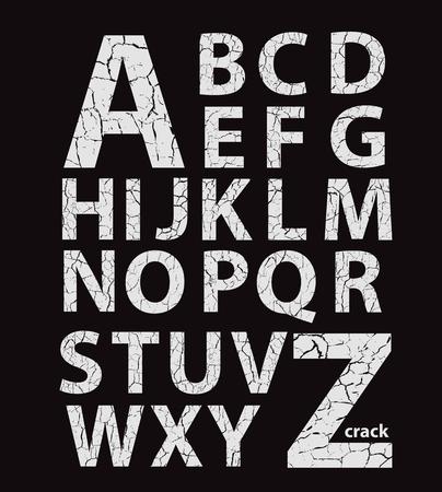 debris: Cracked latin alphabet, vector gray letters on black background