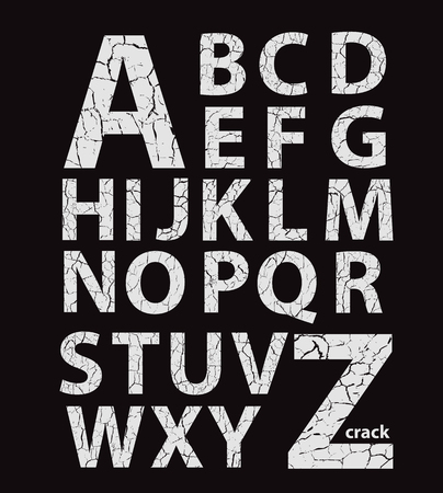 Cracked latin alphabet, vector gray letters on black background