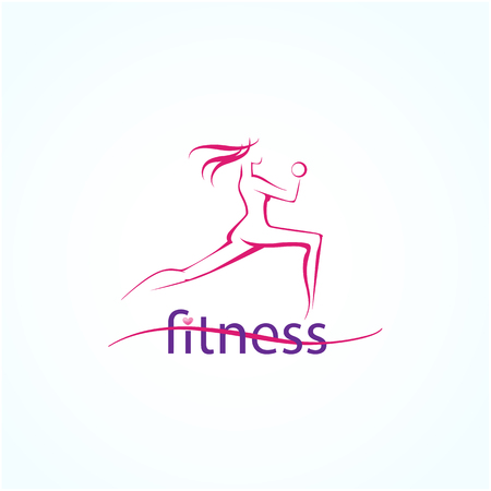 Abstract silhouette fitness girl