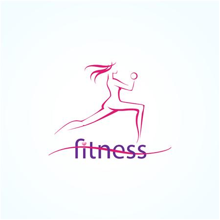 Zusammenfassung Silhouette Fitness-Mädchen