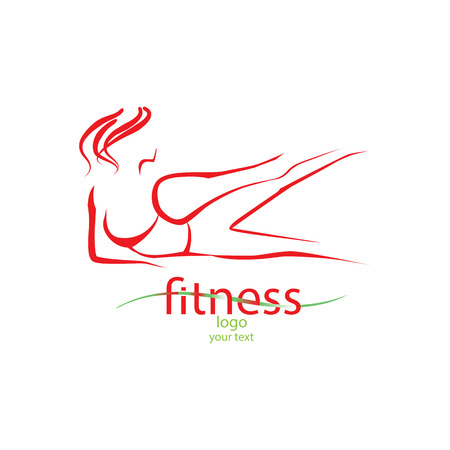 female legs: Abstract logo with elegant silhouette fitness girl Illustration