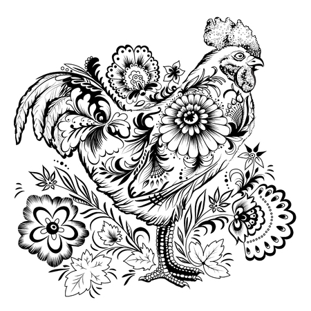 on white: Cockerel, symbol of new 2017 year, decorated with floral pattern, black and white illustration