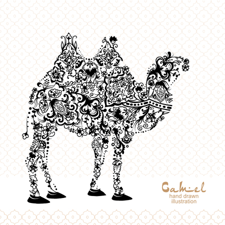 Silhouette of camel, decorated with arabic pattern, black and white illustration Illustration