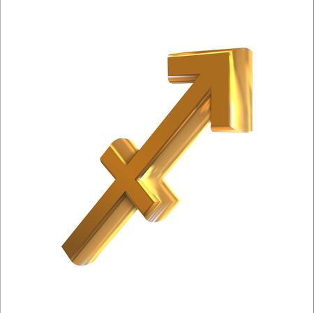 Golden zodiac sign Sagittarius, object made with mesh