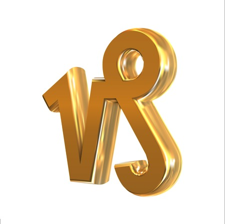 capricornus: Golden zodiac sign Capricornus, object made with mesh