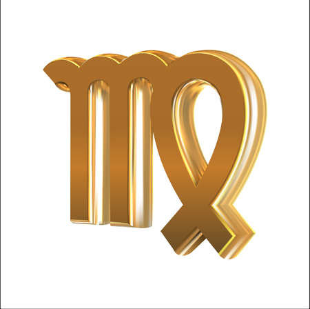 Golden sign Virgo, object made with mesh