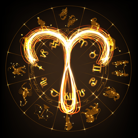 Zodiac sign Aries in fire-show style on horoscope circle background. Circle with signs of zodiac and constellations. illustration Illustration
