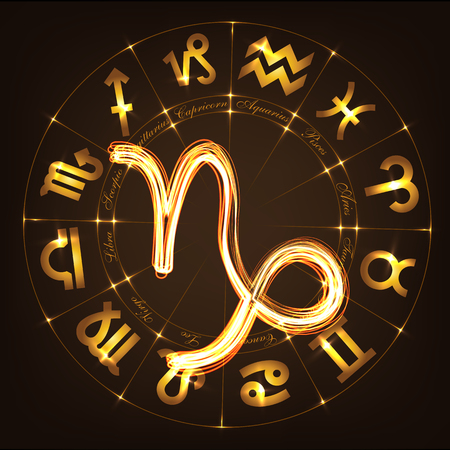 Zodiac sign Capricorn in fire-show style on horoscope circle background. Circle with signs of zodiac and constellations. illustration Illustration