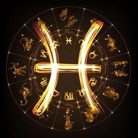 Signo zodiacal Piscis en el fuego-show estilo en el fondo del círculo del horóscopo. Círculo con los signos del zodiaco y las constelaciones. ilustración