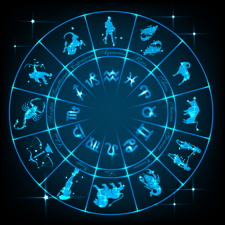 Horoscope circle.Circle with signs of zodiac and constellations. illustration
