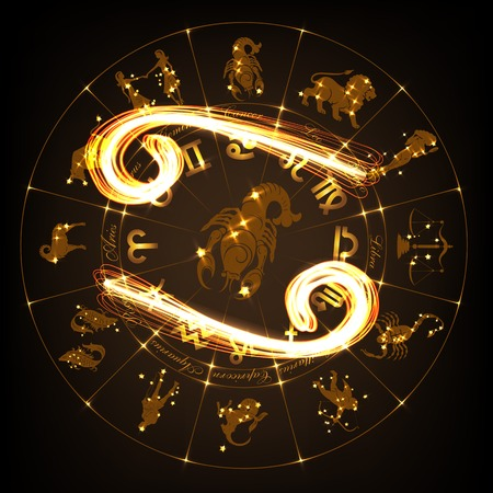 Zodiac sign Cancer in fire-show style on horoscope circle background. Circle with signs of zodiac and constellations. illustration Illustration