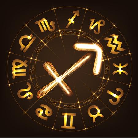 constellation sagittarius: Zodiac sign Sagittarius in fire-show style on horoscope circle background. Circle with signs of zodiac and constellations.Vector illustration Illustration