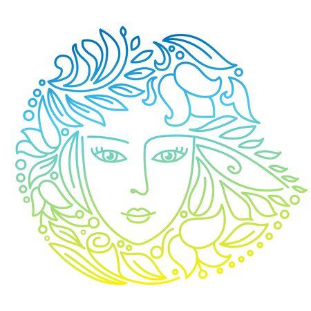 Decorative floral hand drawn woman face Illustration