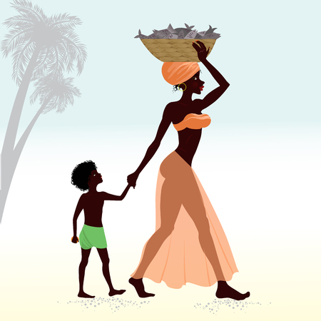 african american woman silhouette: African woman with child carrying fish in basket