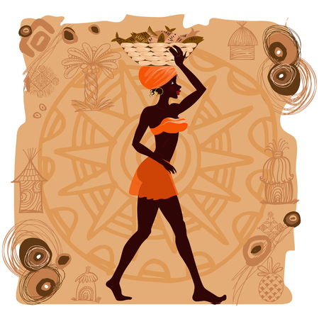 african woman: African woman carrying fish in basket  Illustration
