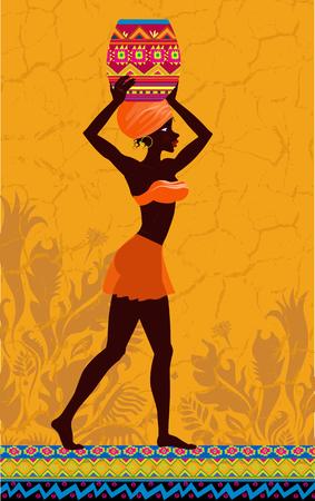 negras africanas: Mujer africana cargando jarra