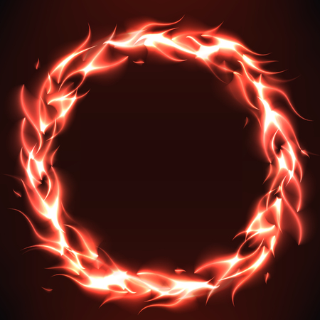 dynamic heat black: Burn flame fire round vector background with free space inside