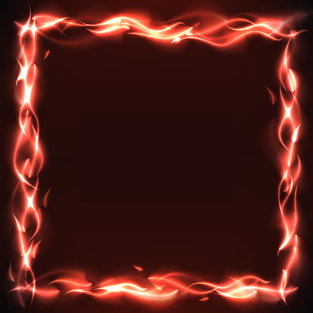 flame burn: Burn flame fire frame vector background with free space inside Illustration