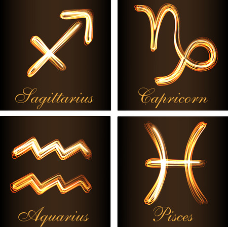 Fire-show style set of zodiac signs Sagittarius, Capricorn, Aquarius and Pisces vector illustration. Part of collection all Zodiacs, letters and numbers