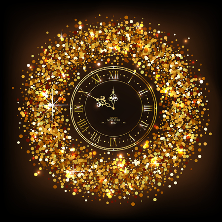 gold christmas decorations: Classic golden shiny clock with roman numbers