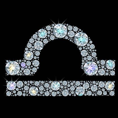 resplandor: Diamond sign of the zodiac Libra. Vector Illustration. EPS10