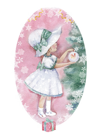 Illustration of cite little girl decorate Christmas tree with ball
