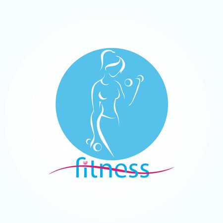 Abstract template with silhouette fitness girl Illustration