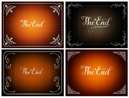 Set of final frames The End , cinema vector backgrounds in vintage style Illustration