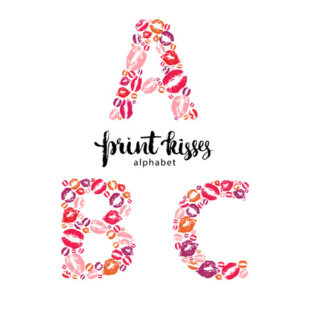 Set of letters A, B, C made from print kisses
