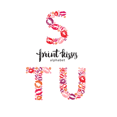 Set of letters S, T and U, made from print kisses Illustration